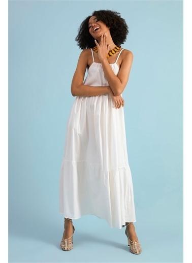 Z Giyim Kadın  Ekru  Askılı Keten Elbise Ekru
